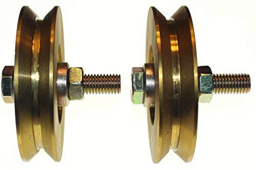 (V89-12) Packung mit 2 Schiebetor-Rädern, Riemenscheiben-Rädern, V-Rillen-Stahlräder, hergestellt in der EU (89 mm Durchmesser - 12 mm Welle)