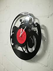 WALL CLOCK VINYL MUFFLER WITH MOTORCYCLE MOTO UPCYCLING DESIGN WATCH WALL DECOR VINTAGE WATCH WALL DECORATION RETRO WATCH MADE IN GERMANY - CAFE RACER #5