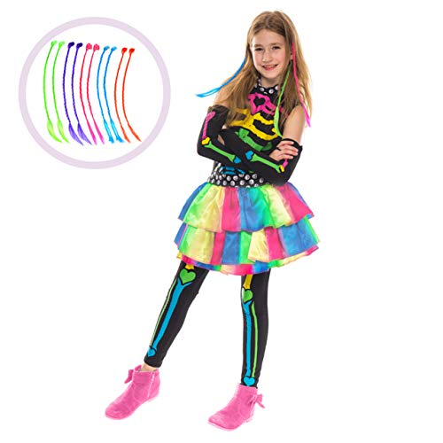 Funky Punky Bones Colorful Skeleton Deluxe Girls Costume Set with Hair Extensions for Halloween Costume Dress Up Parties. (Large ( 10- 12 yrs))