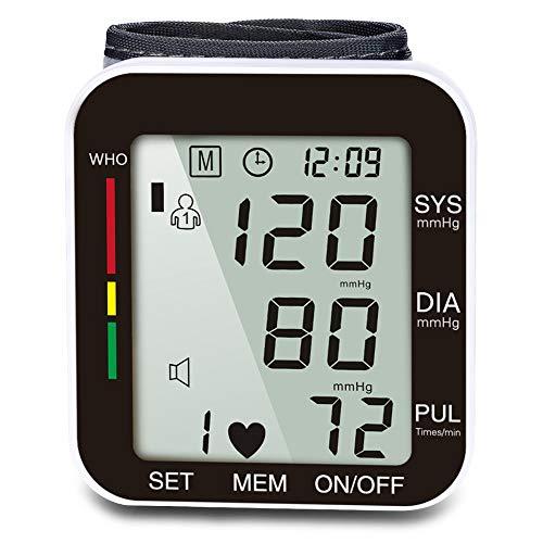 INSIGHT Monitor de Presión Arterial de Muñeca, Baumanómetro Digital con Pantalla LCD Grande, Detectar Automática la Presión Sanguínea y Alerta de Valor Anormal, Transmisión de Voz y Guardar 2x99 Datos