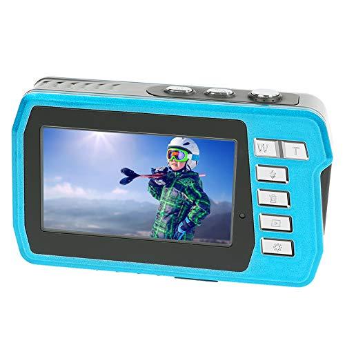 LongOu Unterwasserkamera 2,7K 48 MP Unterwasserkamera Selfie Dual Screens 16X Digitalzoom Digitalkamera Wasserdicht zum Schnorcheln, Blau