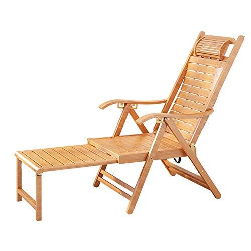 ZR- Bamboo Reclinabile Outdoor Sedia Pieghevole Regolabile Leisure Poltrona di Legno da Giardino Sdraio Balcone Vecchio Siesta Presidenza Estesa Poggiapiedi