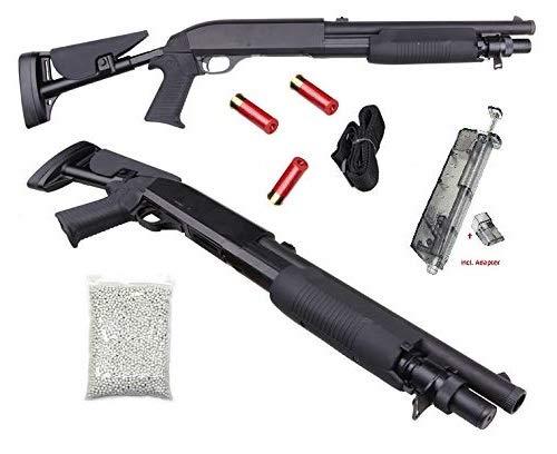 KS-11 robuste Softair Shotgun inkl. Speedloader, 2000 Premium BBS Munition, Magazin (Shotshell), Taktischer Tragegurt - M56C Flinte