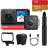 2020 Insta360 ONE R Sports Video Adaptive Action Camera (Twin Edition) Bundle with 4K Wide Angle Lens 5.7K Dual Lens Stabilization 360 Waterproof, Comes 64GB Micro SD, Invisible Selfie Stick