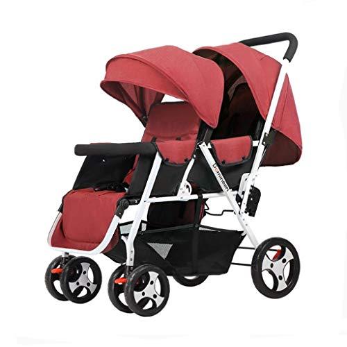 Cochecito Doble Convenience Urban Twin Carriage Cochecito Tandem Plegable Cochecito Todo Terreno Doble For Niños Pequeños Y Niños (Verde Oscuro, Rojo, Gris) (Color : Red)