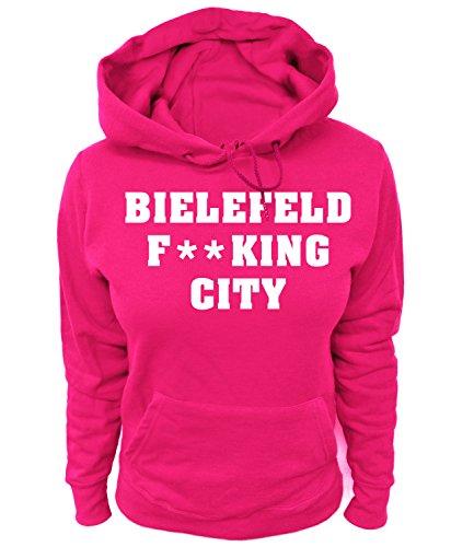 Artdiktat Damen Hoodie - Bielefeld Fucking City Größe XL, Fuchsia