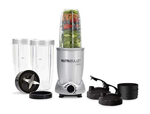 NutriBullet N9C-0928 - Extractor de Nutrientes, con recetario en español, base motor de 1000 W, 4.000 - 20.000 rpms, 1 solo botón, 5 velocidades variables, paro automático 60 segundos, color Silver