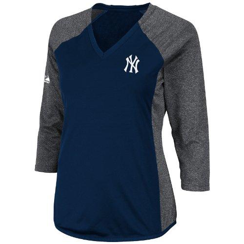 MLB New York Yankees Womens Featherweight Tech Fleece, Navy/Grey