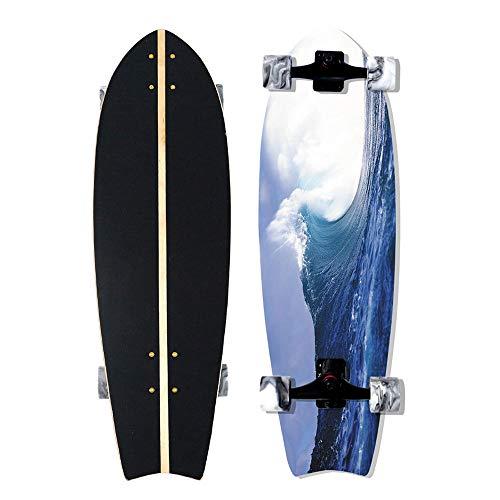VOMI Hignful Carver Skateboard Cruiser Komplettboard Surf Skate Tanzbrett Brush Street Longboard Deluxe 9-Lagiges Kanadisches Ahorn-Skateboard Für Einsteiger ABEC-11 Kugellager