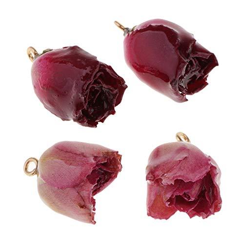 yotijar Collar con colgantes en 4 partes con colgantes rosa naturales para joyas