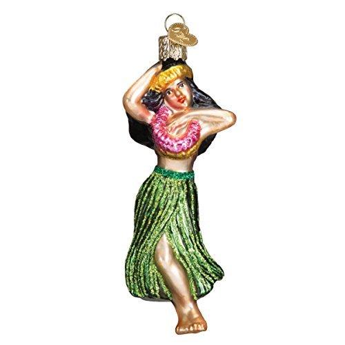 Viejo Mundo Navidad adorno de Hula Dancer de cristal soplado por viejo...