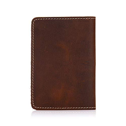 MGWA Mochila de recogida retro de cuero de vaca Crazy Horse carpeta de pasaporte paquete de identificación bolsa de 20 x 15 cm