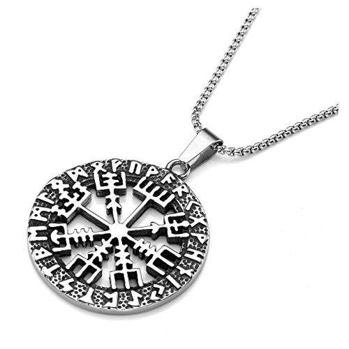 Zysta Herren Damen Edelstahl Wikinger Schmuck- Hohl KompassAnhänger Halskette Vegvisir Runenkompass Kette Amulett MIT 24