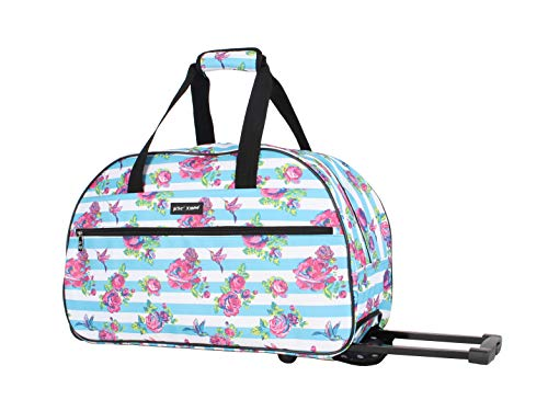 Betsey Johnson Designer Carry On Luggage Collection - Lightweight Pattern 22 Inch Duffel Bag- Weekender Overnight Business Travel Suitcase with 2- Rolling Spinner Wheels (Stripe Floral)