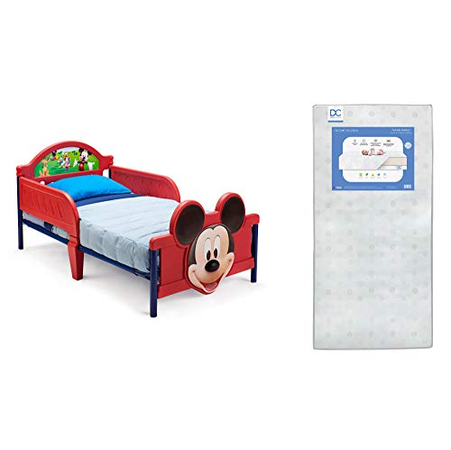 Delta Children 3D-Footboard Toddler Bed, Disney Mickey Mouse Twinkle Galaxy Dual Sided Recycled Fiber Core Toddler Mattress (Bundle)