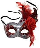 VENTURA TRADING MX2 Rojo Máscara de la Mascarada Mascarilla Veneciana Decoración de Plumas Mujer Mascarada Disfraz Partido Pelota Paseo