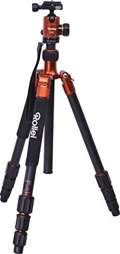 Rollei Stativ C5i+T2S - Kompaktes Dreibeinstativ inkl. Kugelkopf, Schnellwechselplatte und Stativtasche, Umbau zum Einbeinstativ möglich - Arca Swiss kompatibel - Orange