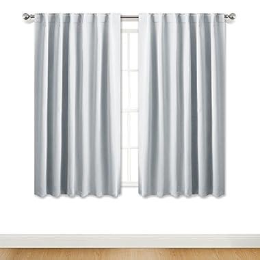 PONY DANCE Room Darkening Curtains - Light Block Drapes Back Tabs & Rod Pocket Design Window Treatments Panels Decoration, 52  Wide 45  Long, Greyish White, 2 PCs