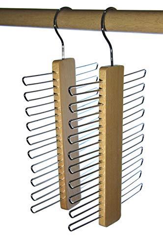 Hagspiel, 2 St. Krawattenhalter aus Buchenholz, Natur lackiert, für 20 Krawatten (Krawattenhalter Holz 20 Krawatten)