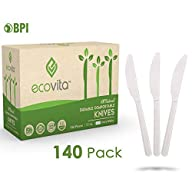 100% Compostable Knives - 140 Large Disposable Utensils (7 in.) Eco Friendly Durable and Heat Resistant Alternative to…