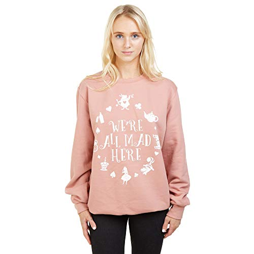 Disney Alice In Wonderland Mad Here Sweatshirt Sudadera, Rosa (Dusty Pink Pnk),...