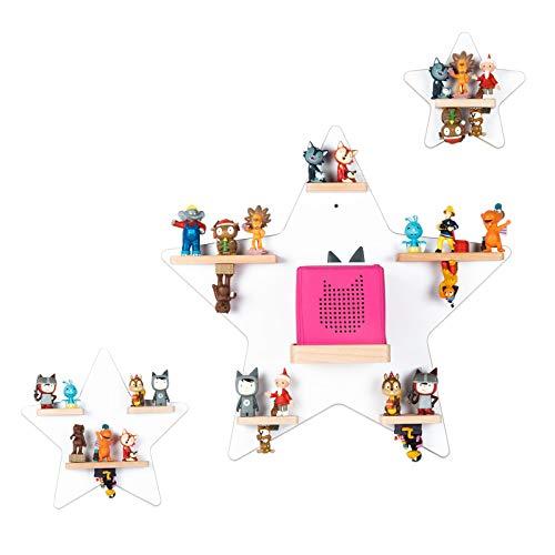 BOARTI Kinder Regal Kollektion Sterne in Weiß - geeignet für die Toniebox und ca. 57 Tonies - zum Spielen und Sammeln
