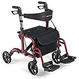 GOPLUS 2 in 1 Folding Rollator Walker, 4 Wheel Medical Rolling Walker with Adjustable Handle and Reversible Backrest for Adult, Senior, Elderly & Handicap, Aluminum Transport Chair Mobility Rollator