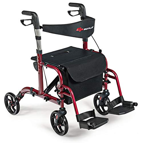 GOPLUS 2 in 1 Folding Rollator Walker, 4 Wheel Medical Rolling Walker with Adjustable Handle and Carry Bag for Adult, Senior, Elderly & Handicap, Aluminum Transport Chair Mobility Rollator (Red)