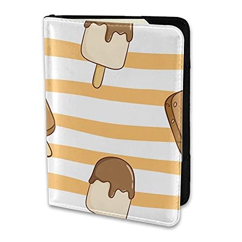 Soporte para Pasaporte Rayas Naranjas y Blancas Helado de Chocolate Kawaii Cartera de Viaje de Cuero PU Funda para Pasaporte Fundas para Pasaporte 5.5 Pulgadas