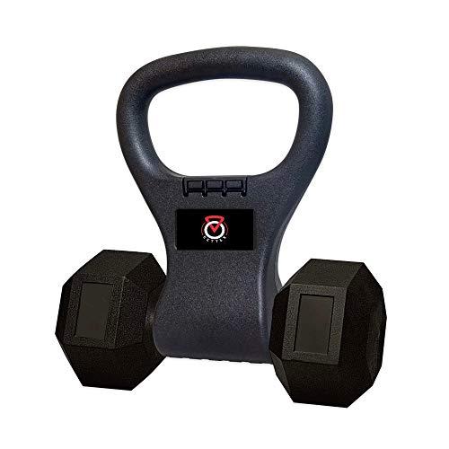 Kettex - Kettlebell Extreme Grip Handle for Dumbbells, Convert Dumbbell to Kettlebell, Portable Dumbbell Handle for Strength Training, Black