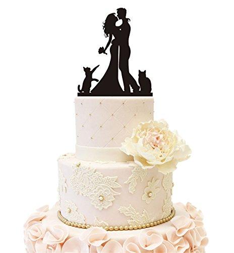 Hochzeit Clock Company Silhouette Tortenaufsatz Braut Bräutigam mit einem Hund 2 Cats