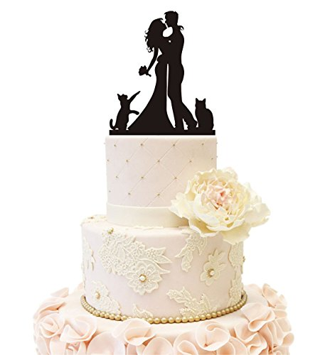 Wedding Anniverary Family Cake Topper couple Bride Groom with 2 Cats (Black)