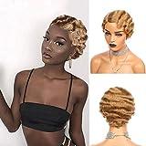 Pixie Cut Wig Short Wigs Finger Wave Wig (Blonde 27#)For Black Women Brazilian Non-Remy Human Hair Wigs Full Machine Made Wigs Cheap Human Hair Wigs