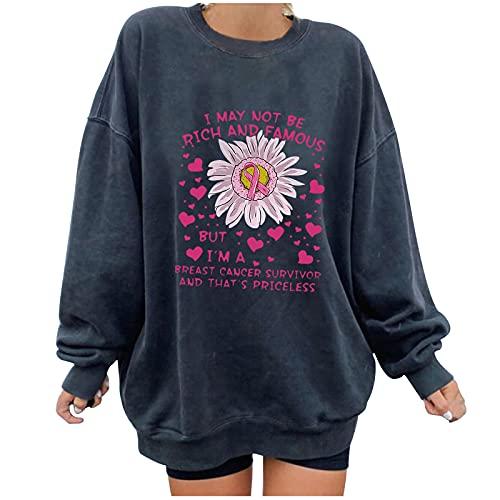 Wave166 Jersey monocromático con la campaña de sensibilización para el cáncer de mama rosa Ribbon y rotulación impresa camiseta de manga larga cuello redondo moda casual sudadera para mujer, gris, XL