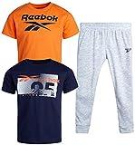 Reebok Baby Boys' Jogger Set – 3 Piece Short Sleeve T-Shirt and Sweatpants Playwear Set (Infant/Toddler), Size 3 Toddler, Light Heather Grey/Orange/Blue