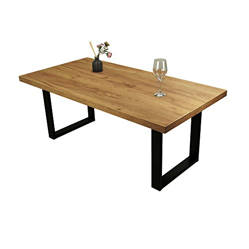 POKAR Mesa de Café/Mesa de Centro Industrial/Mesa Auxiliar/Mueble Salon Comedor con Patas de Mesa de Acero Negro y Tablero de 3,6 cm, Aspecto Roble Artesanal Dorado, 120 x 60 x 47 cm