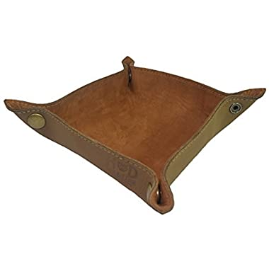 Leather Catchall Change Key Wallet Coin Box Tray Storage Valet Handmade by Hide & Drink :: Toffee Suede