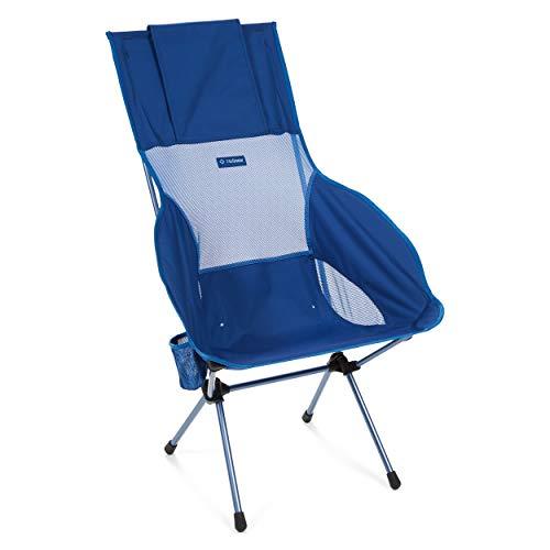 Helinox Savanna Chaise de camping pliable à dossier haut, profil plus haut et plus large – Porte-gobelet intégré, capacité de charge dynamique 145 kg – (bloc bleu)