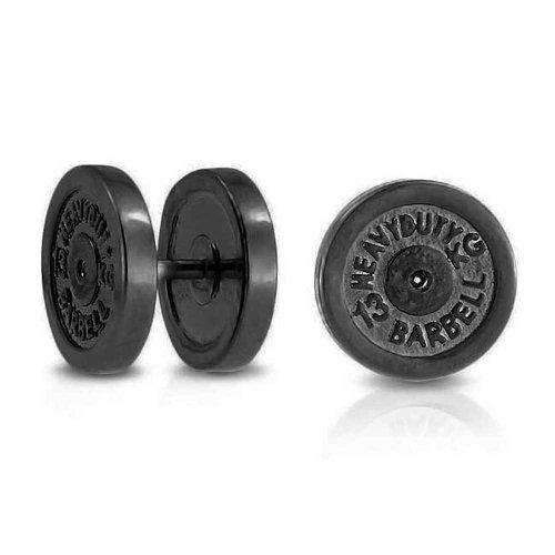 Dumbbell Black Plate Faux Plugs Earrings for Women for Men 316L Steel 16G 12MM