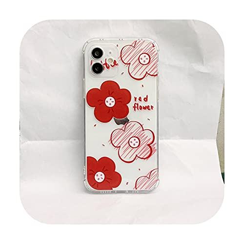 Claro vino flor suave TPU teléfono caso para iPhone 12 11 Pro Max X Xr Xs Max 7 8 Plus Se a prueba de golpes cubierta trasera fundas Capa-Clear-para iPhone 8 Plus