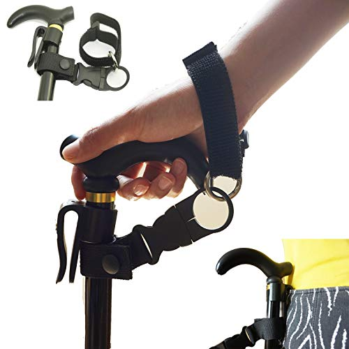 Easy Fit Walking Stick Elastic Wrist Strap/Cane Crutch Pants Clip Belt Holder Support Grip Aid (Suitable for 7/8~1