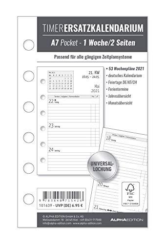 Timer Ersatzkalendarium A7 2021 - Bürokalender - Buchkalender A7 (8x13 cm) - Universallochung - 1 Woche 2 Seiten - 128 Seiten - Alpha Edition