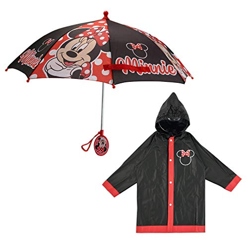 Disney Umbrella and Slicker Set, Toddler or Little Girl Rainwear Ages 2-7, Minnie Mouse Black, SMALL, AGE 2-3