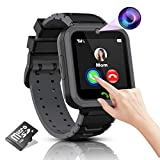 Kids Smart Watch Boys Phone Camera Selfie SOS Calling Smartwatch for Kids Waterproof IPX5 Games Touch Screen Alarm Sound Recorder Music Player Calculator 3-12 Years Old Boys and Girls (Black)