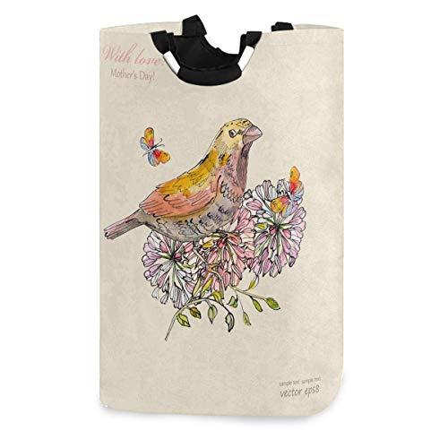 N\A Wäschekorb für Vögel und Schmetterlinge, wasserdichter und Faltbarer Wäschesack mit Griffen für das Baby Nursery CollegeSchlafsäle Kinderzimmer Badezimmer