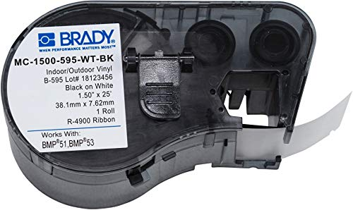 Brady Official (MC-1500-595-WT-BK) High Adhesion Vinyl Label Tape, Black on White - Designed for BMP51 and BMP53 Label Printers - 25 Length, 1.5 Width