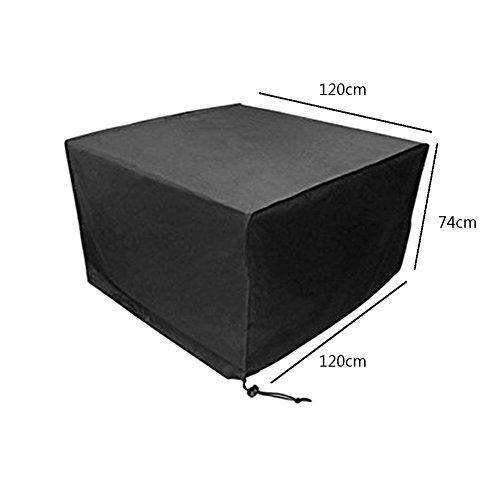 Meijunter 120 * 120 * 74cm Noir Table Chaise Espace de Rangement Meubles Boîtier étui pour Imperméable De Plein air Jardin Patio