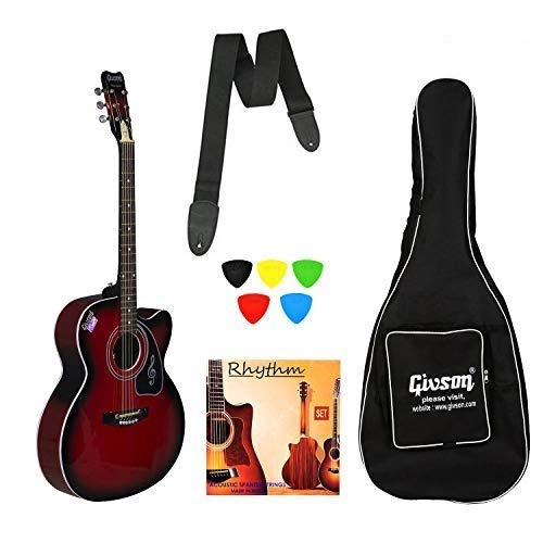 Ketostics Givson Venus Special Guitar (RED) VS-RD, Acoustic Guitar With Cover/Bag, string set,belt and plectrums