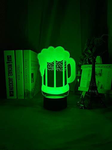 Vaso de cerveza Luz nocturna Led Sensor táctil Color cambiante Luz nocturna para decoración de bar Signo Regalo genial para amigos Jarra de cerveza Lámpara 3d Usb