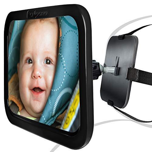 OxGord - Espejo de coche para asiento trasero de coche, con reposacabezas y reposacabezas de asiento trasero para bebés y niños pequeños, 360 correas ajustables y dobles